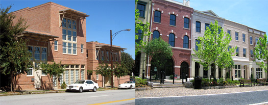 Left: Live/Work unit, which features living space over work space in a single-owner building. Right: Apartments over retail.