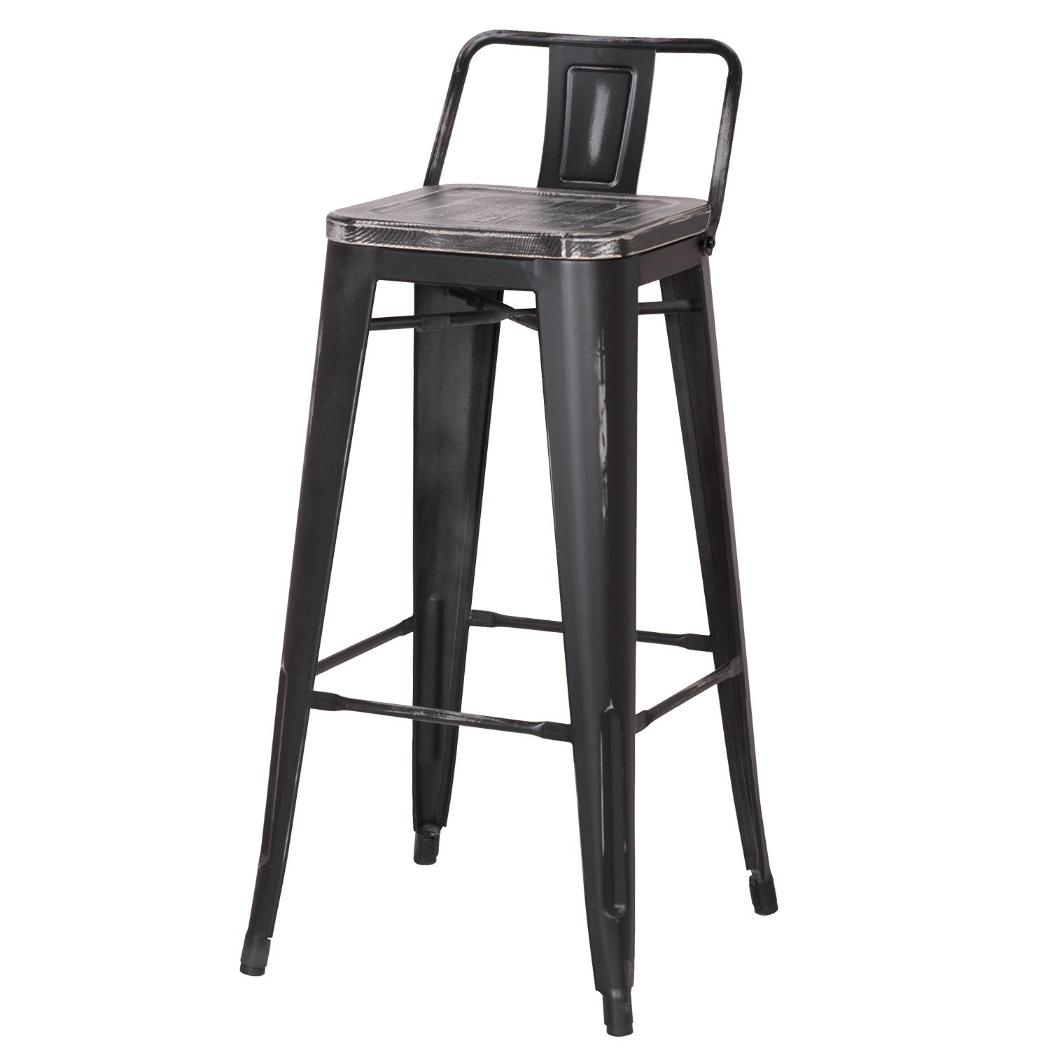 Decenthome Distresed Black Metal Bar Stools With Dark Wooden Seat Ch0276 3 Ach276 3