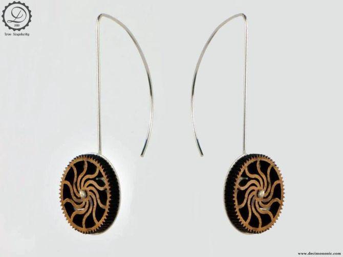 Timber cog earrings