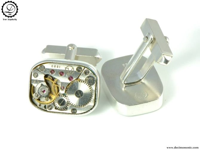 Air Privateer Cufflinks by Decimononic   Sterling silver cufflinks with vintage watch movement