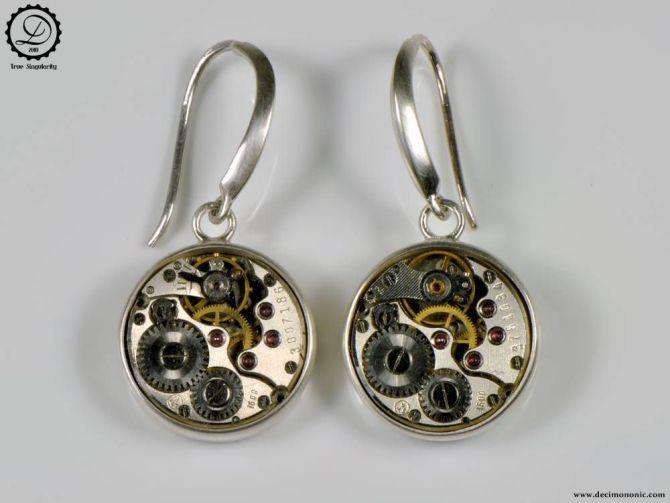 Decimononic - Alpha earrings | Sterling silver Steampunk earrings