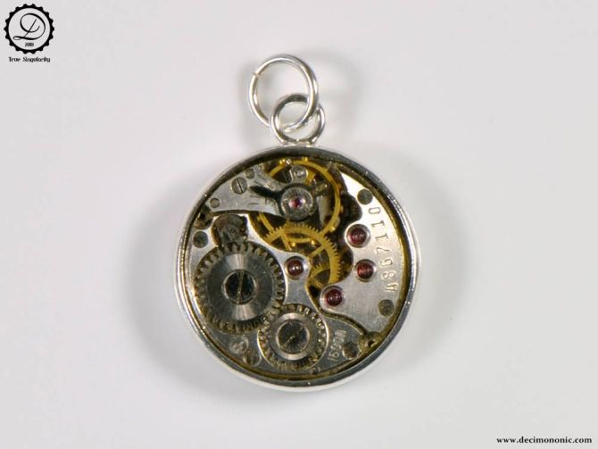 Alpha Charm by Decimononic - Steampunk pendant with vintage watch movement
