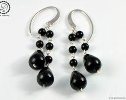 Onyx tears earrings   Steampunk Neovictorian earrings by Decimononic