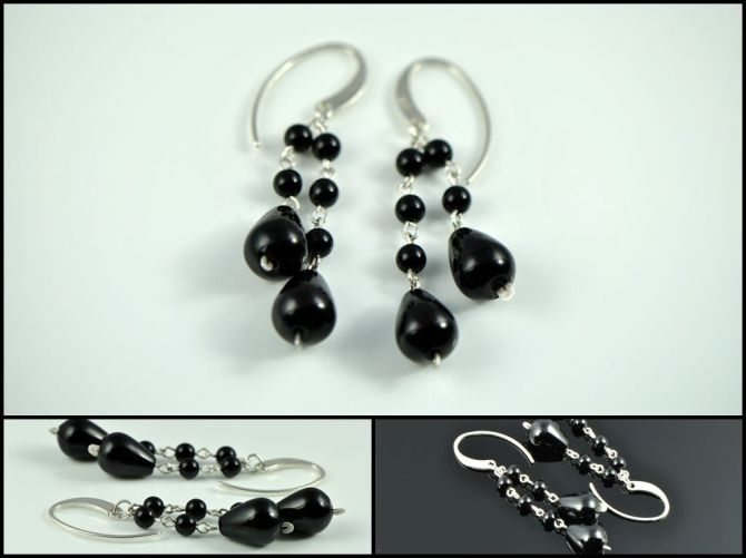 Onyx tears earrings | Steampunk Neovictorian earrings by Decimononic