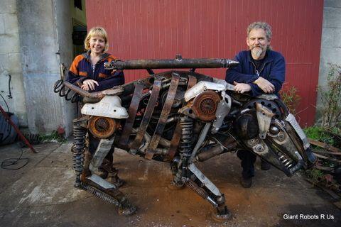 Helen Jansen and Ian Clark with sculpture
