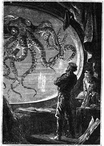 Engraving of Captain Nemo viewing a giant squid from a porthole of the Nautilus submarine, from ''20000 Lieues Sous les Mers'' by Jules Verne