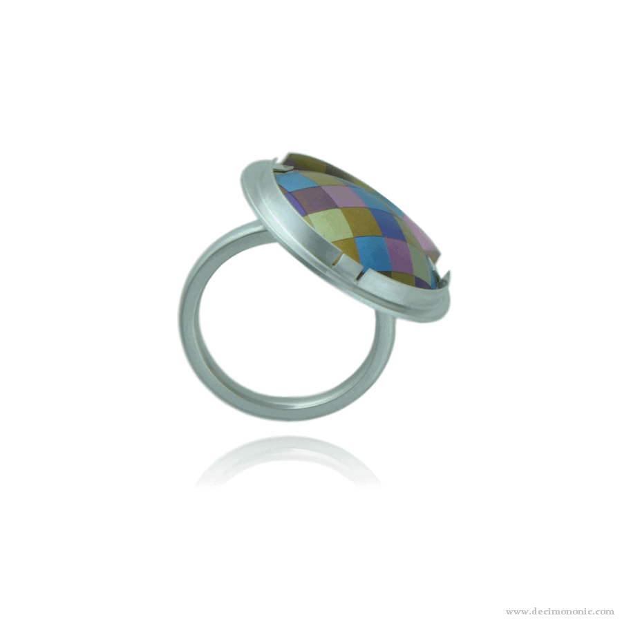 Emilie flöge tribute - Sterling silver and anodized titanium ring by Decimononic