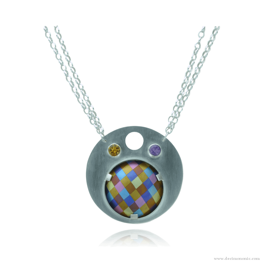 Emilie flöge tribute - Sterling silver and anodized titanium necklace by Decimononic