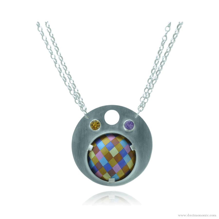 Emilie flöge tribute - Sterling silver and anodized titanium necklace by Decimononic