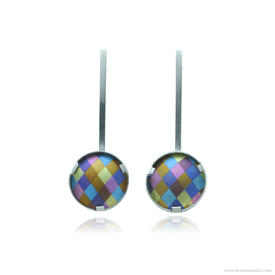 Emilie flöge tribute - Sterling silver and anodized titanium earrings by Decimononic