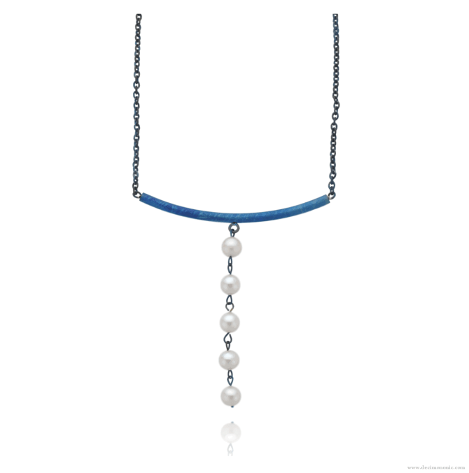 Blue titanium necklace 'Five tears' - Nautilus Collection by Decimononic