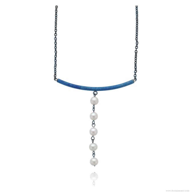 Blue titanium necklace 'Five tears' - Nautilus Collection by Decimononic