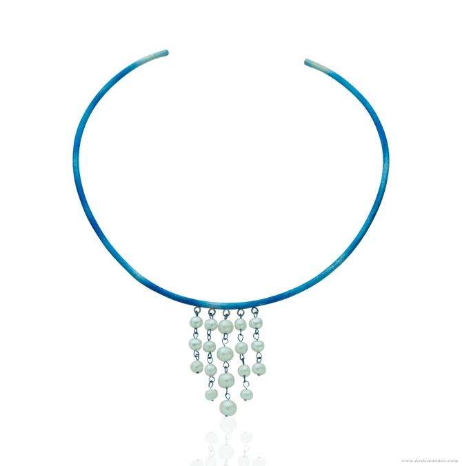 Blue titanium rigid choker 'rain of pearls' - Nautilus Collection by Decimononic
