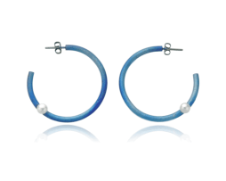 Blue titanium hoop earrings with pearls - Nautilus Collection by Decimononic