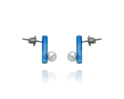 Blue titanium short bar post earrings with pearls - Nautilus Collection by Decimononic