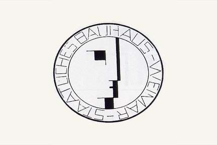 Joost Schmidt, Bauhaus exhibition Poster, 1923. Bauhaus Logo – 1922, Oscar Schlemmer