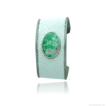 Titanium bracelet with galuchat and variscite cabochon set in sterling silver bezel - Variscia Collection by Decimononic