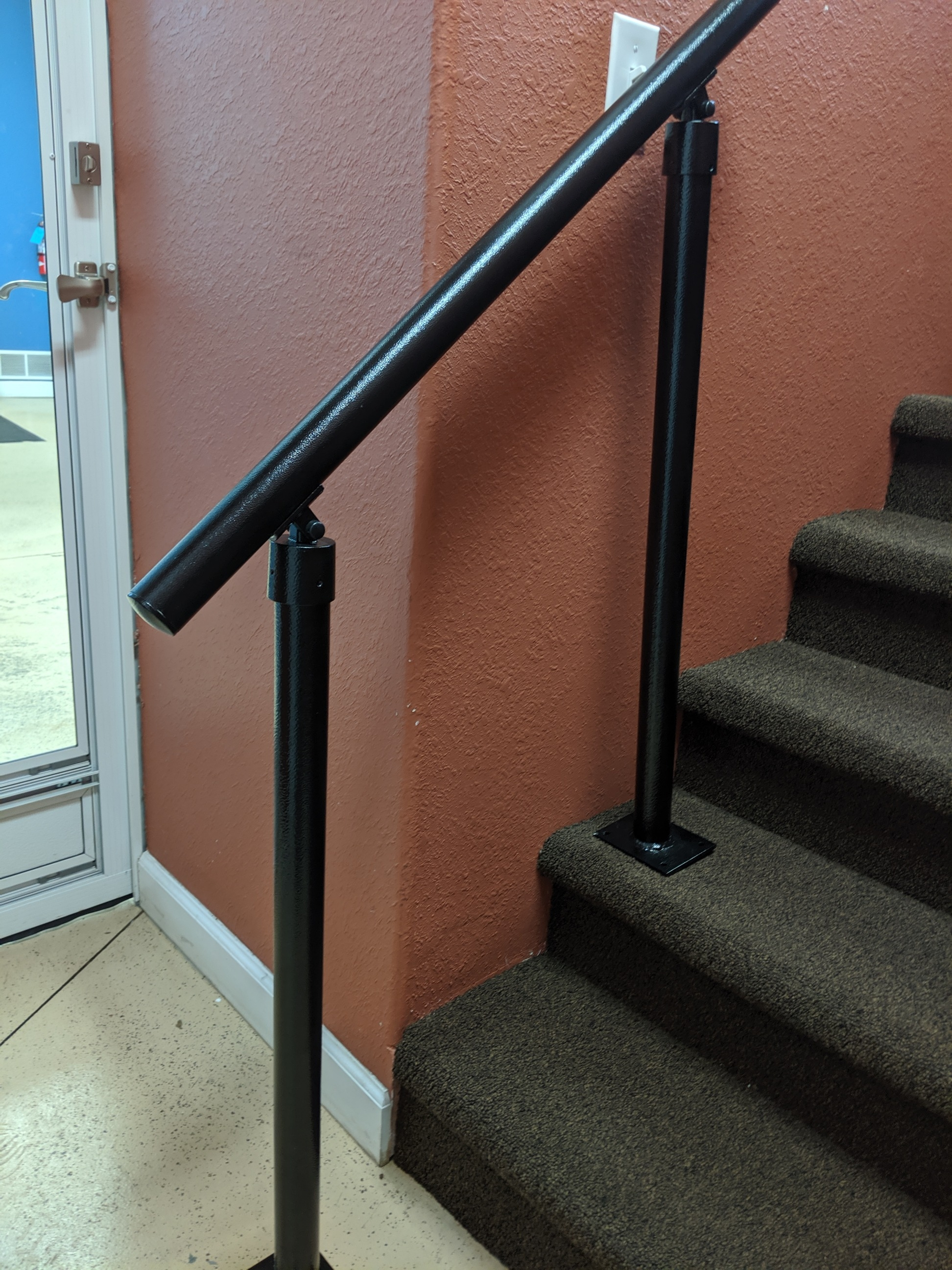 2 And 3 Step Interior Or Exterior Grade Porch Handrail With Posts   3 Step Outdoor Railing   Matte Black   Simplified Building   Aluminum Railing   Front Porch   Handrail Picket