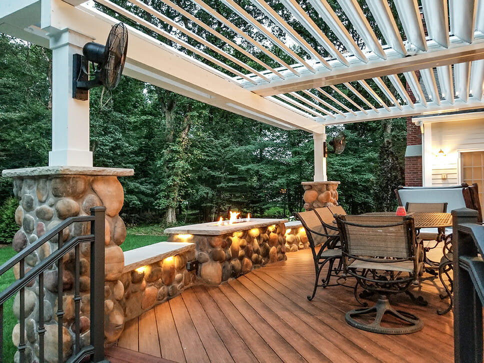 Fire Feature Equinox Pergola Pvc Decking