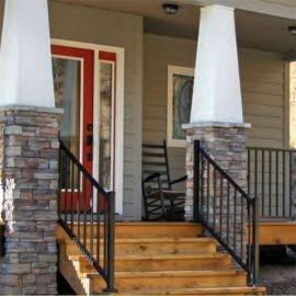 Metal Stair Railing Outdoor Porch Railing Decksdirect | Black Metal Stair Railing | Minimalist Simple Stair | Craftsman Style | Brushed Nickel | Rustic | Horizontal