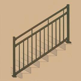 Metal Stair Railing Outdoor Porch Railing Decksdirect   Premade Outdoor Stair Railing   Wood   Metal   Concrete Steps   Rail Kit   Handrail Kits