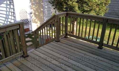 Building Wooden Railings Installing Wood Deck Railing Posts And | Pressure Treated Deck Handrail | Real Wood | Light Color | Deck Board | Southern Yellow Pine | Decking