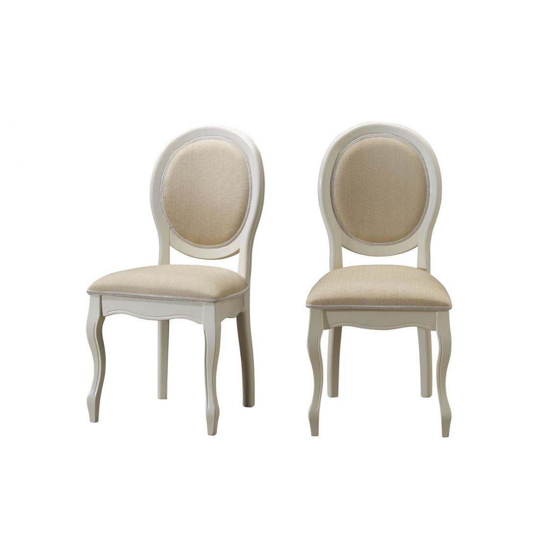 lot de 2 chaises medaillon en tissu ecru duchesse