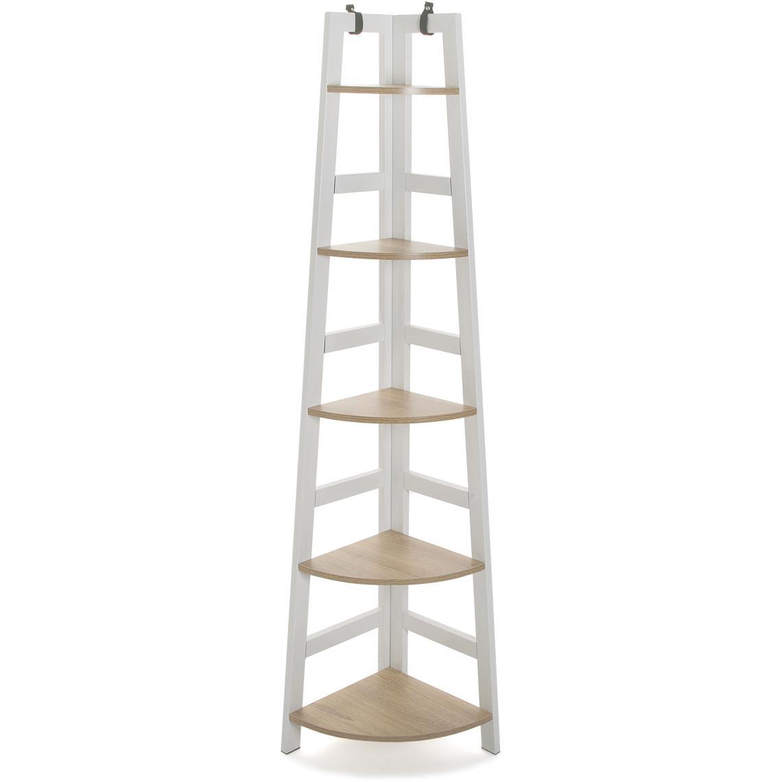 meuble de rangement d angle 5 etageres blanc faye