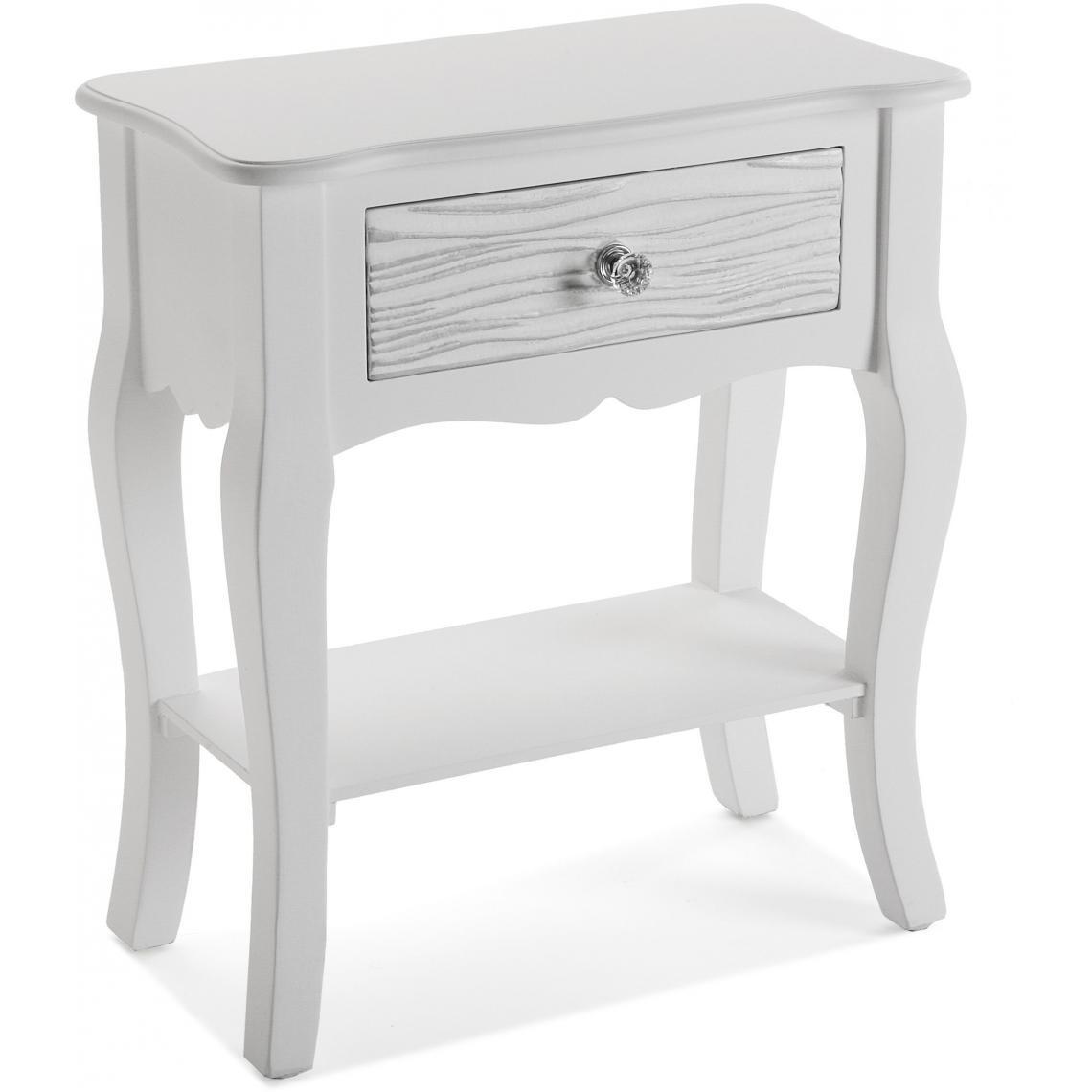 table de chevet avec tiroir et etagere bois blanc avery