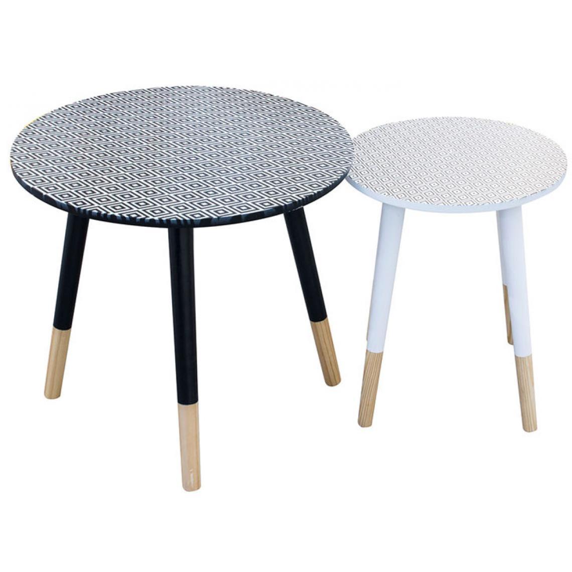 set de 2 tables gigognes imprime losange noir et blanc en bois emma