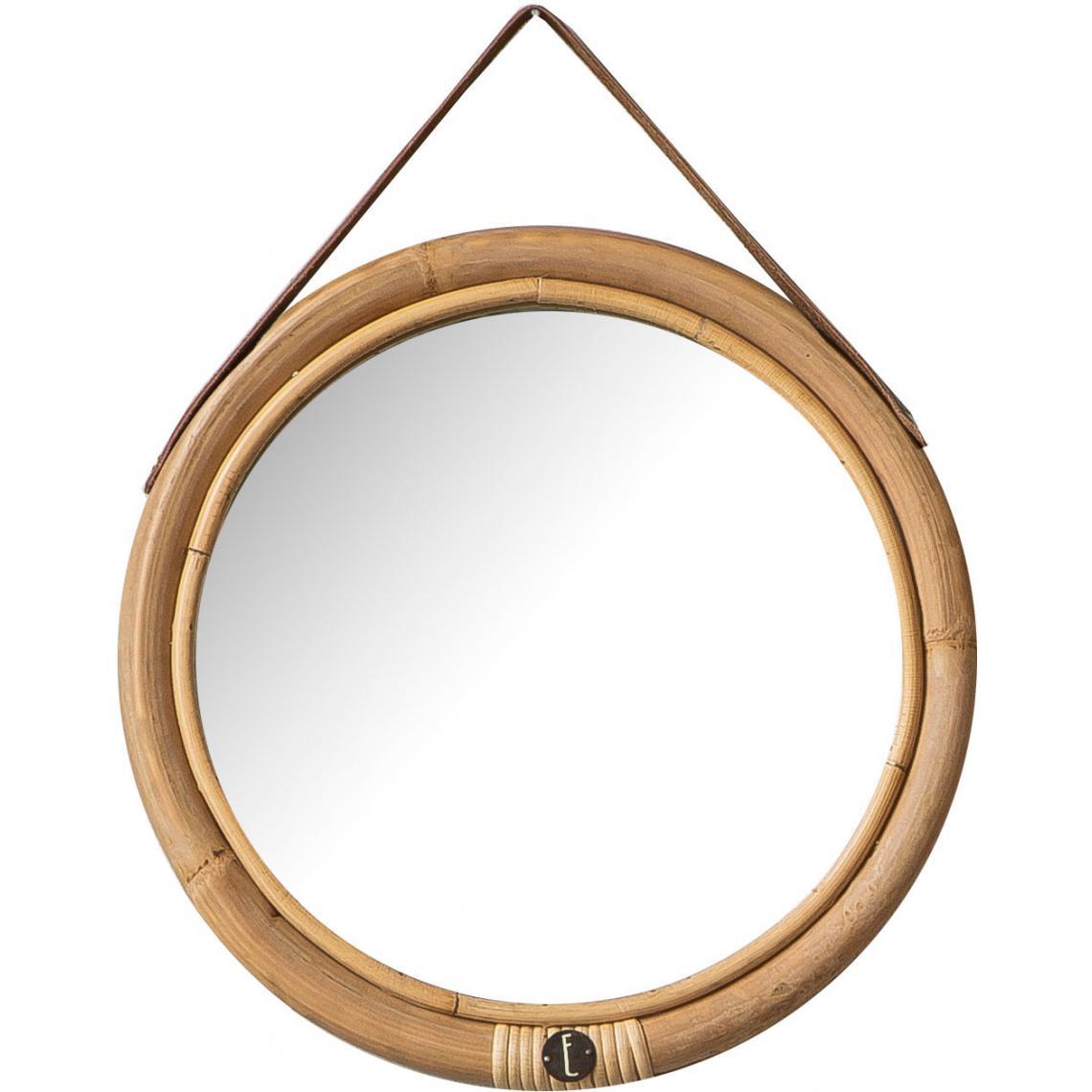 miroir rond o32 cadre en rotin et sangle en cuir bolivia