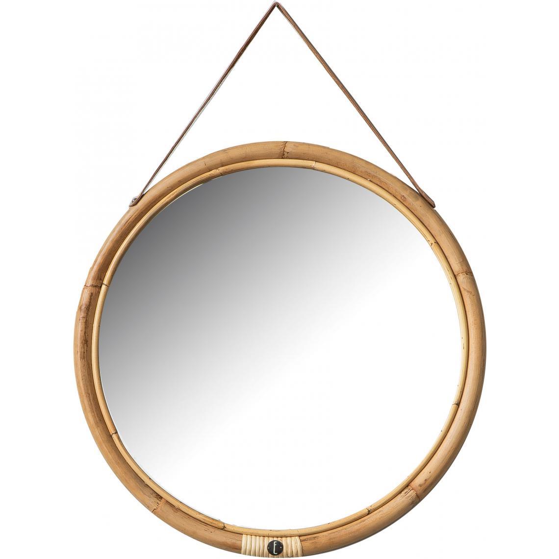 miroir rond o52 cadre en rotin et sangle en cuir bolivia