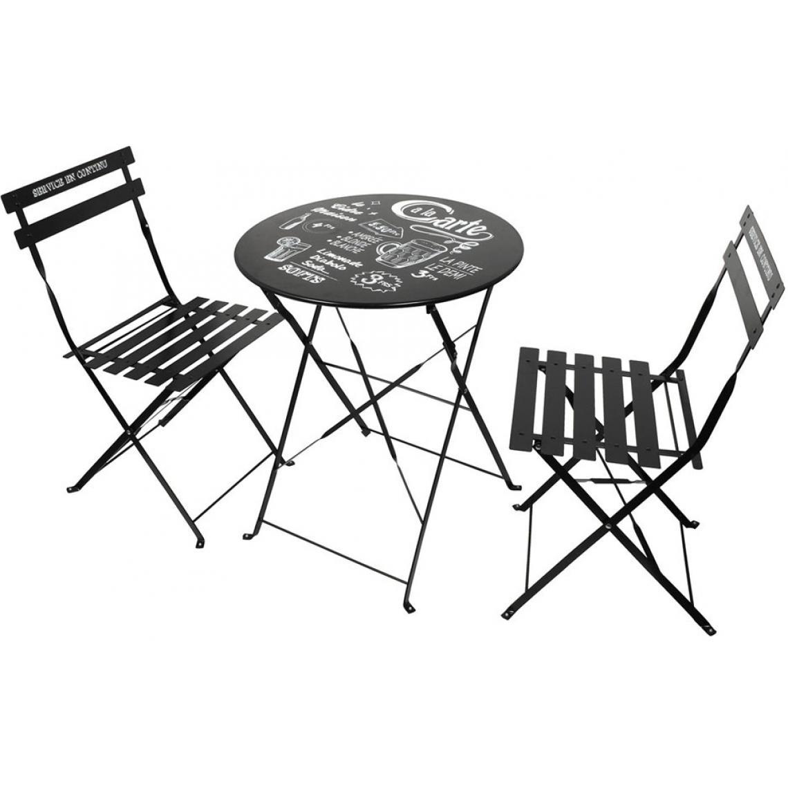 set de table et chaises de jardin avec inscriptions en acier noir gardi