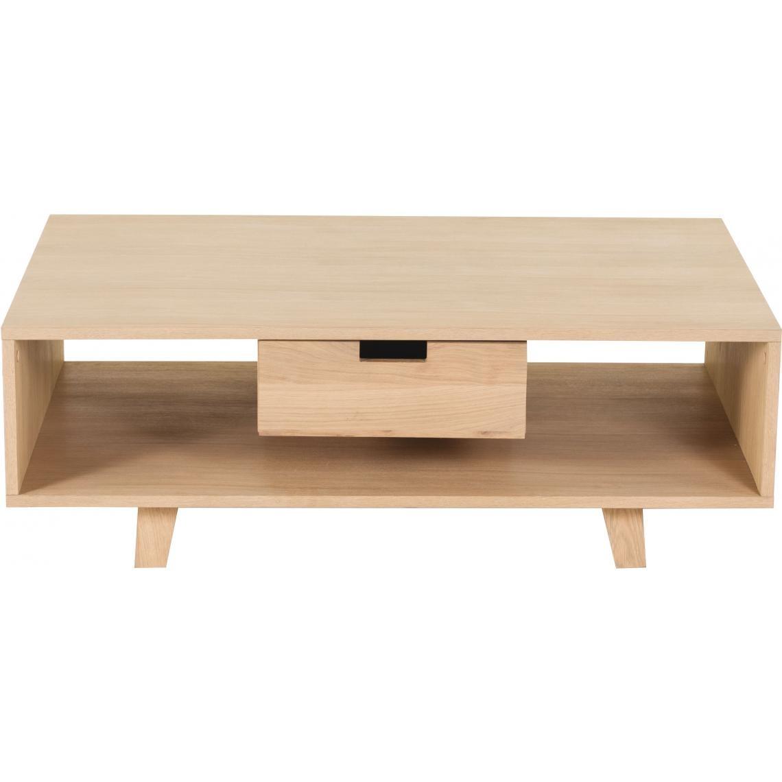 table basse scandinave avec 1 tiroir pietement en chene sergio