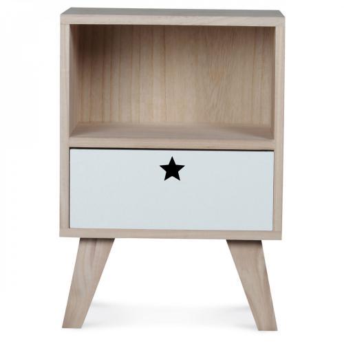 table de chevet 1 case et 1 tiroir en bois blanc et beige twinkle