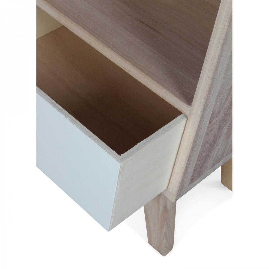 commode 7 tiroirs en bois blanc et beige twinkle