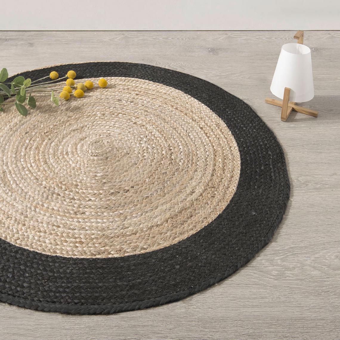 tapis en jute beige bordure noire