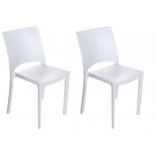 lot de 2 chaises blanches effet croco arlequin