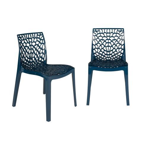 lot de 2 chaises design bleu petrole gruyer