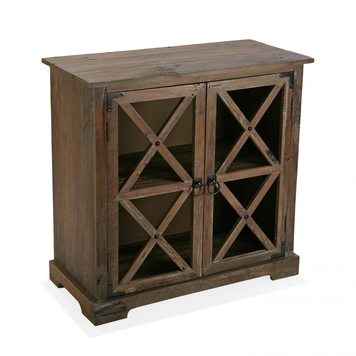 meuble de rangement 2 portes en sapin marron elo