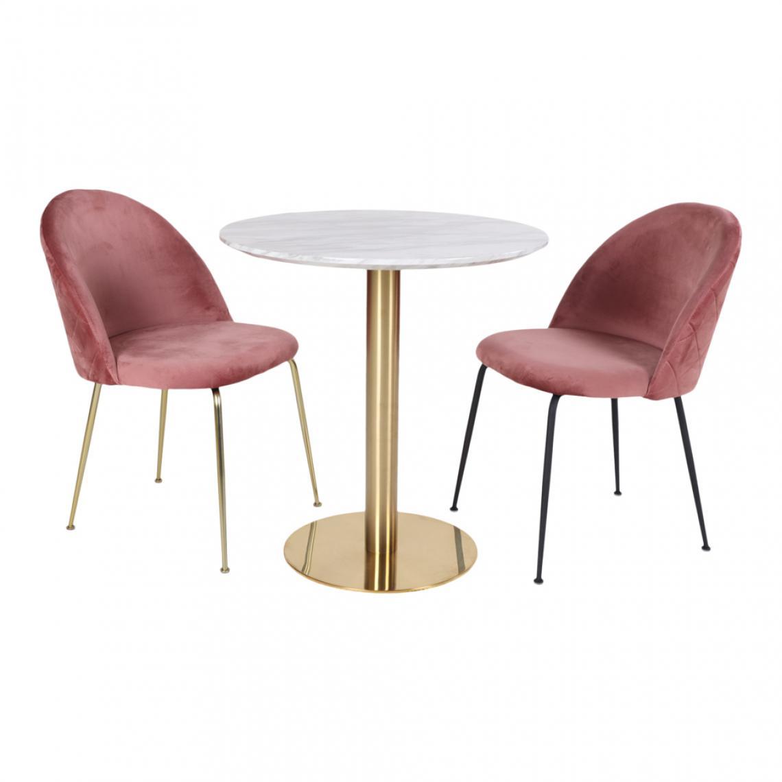 table a manger ronde en acier imitation marbre foly