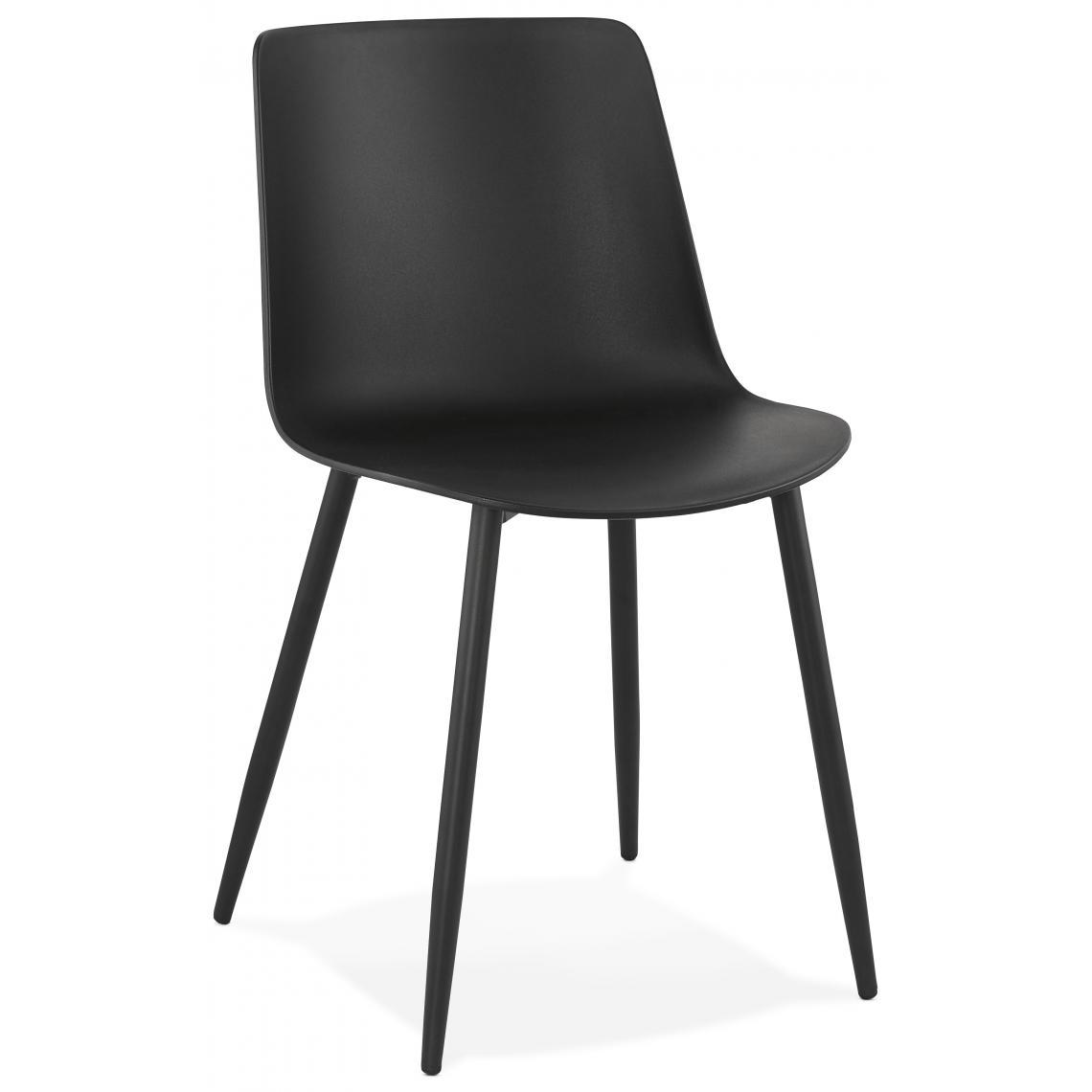 chaise en plastique noir dossier rectangulaire sibaque