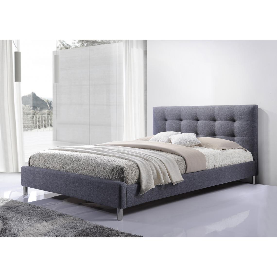 lit gris tissu avec tete de lit capitonne 160 eva
