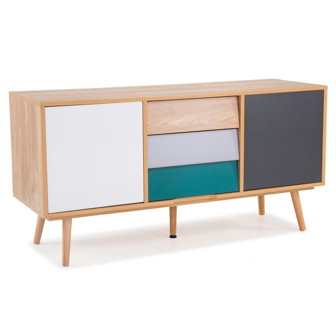meuble tv pin multicolore alaska