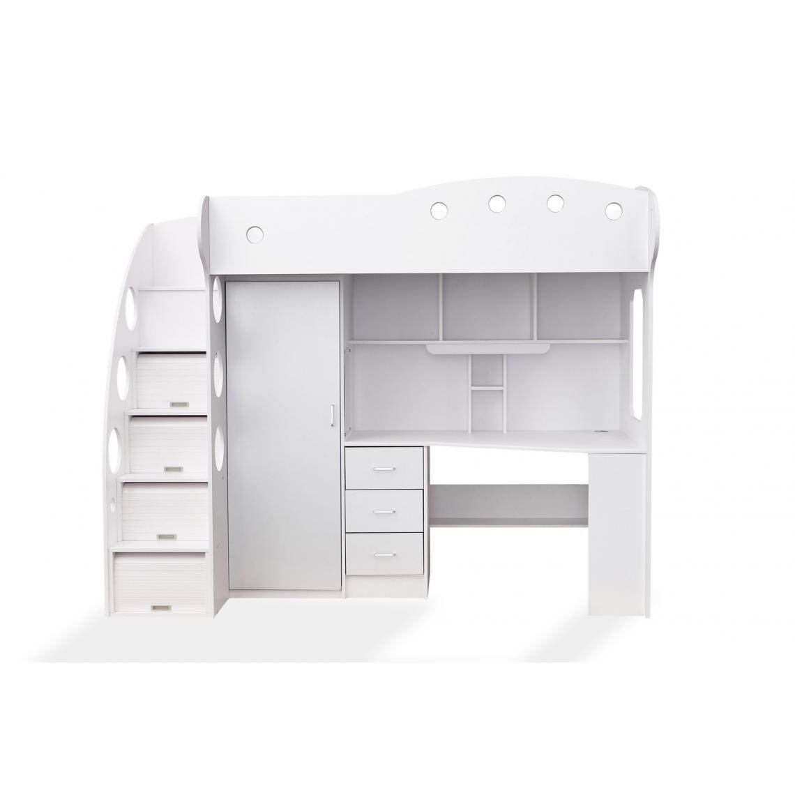 lit combine 1 couchage 1 bureau 1 penderie blanc maxi