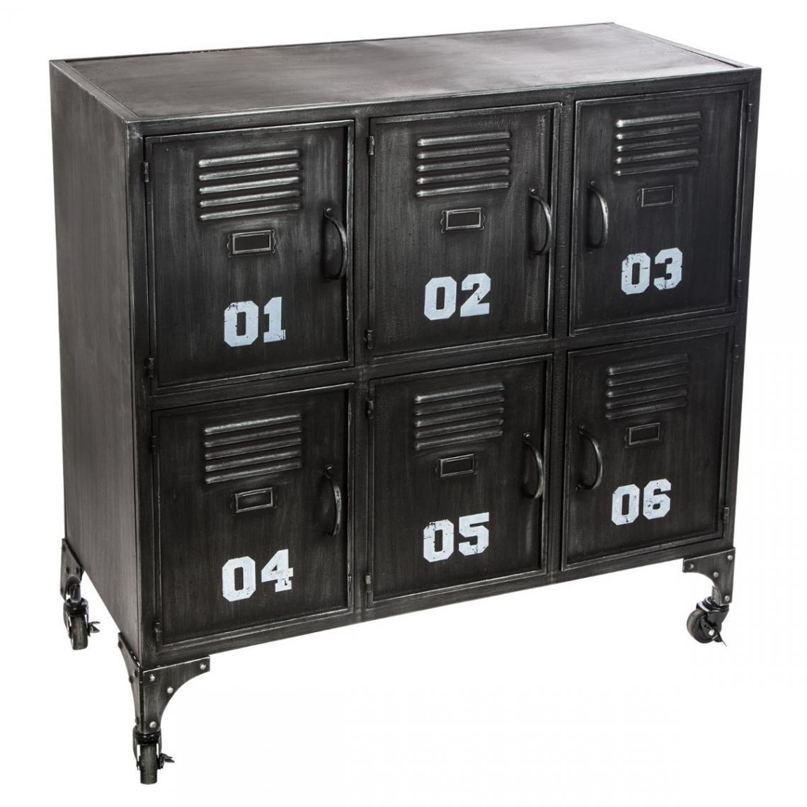 meuble en metal a roulettes 6 portes case