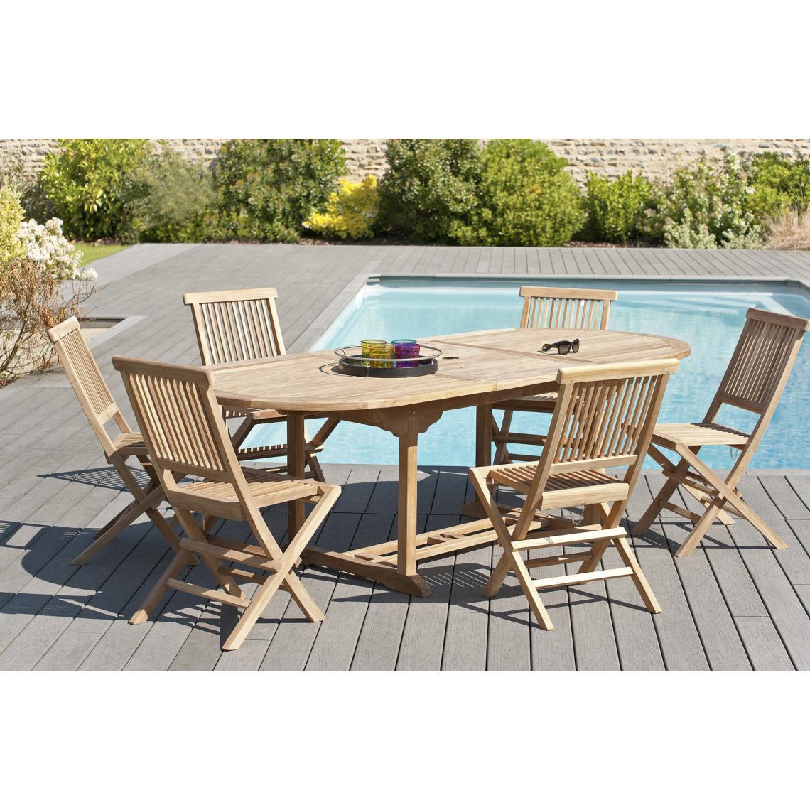 salon de jardin en bois teck 8 10 pers ensemble de jardin 1 table ovale extensible 180 240 100 cm et 6 chaises