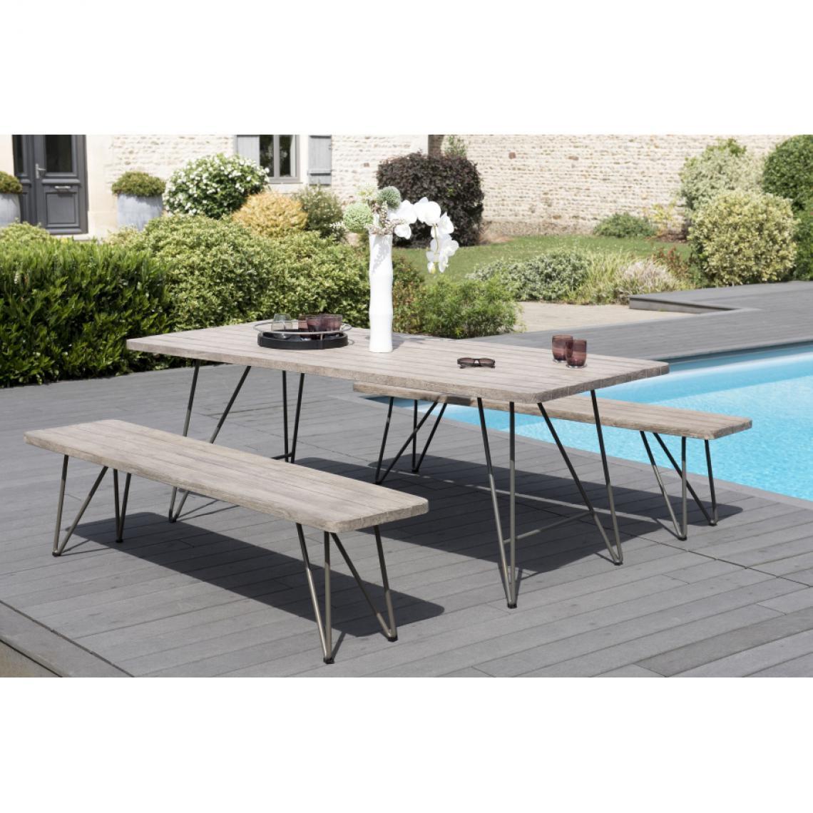salon de jardin en bois teck grise 6 8 pers ensemble de jardin 1 table rectangulaire 200 90 cm et 2 bancs scandi pieds metal
