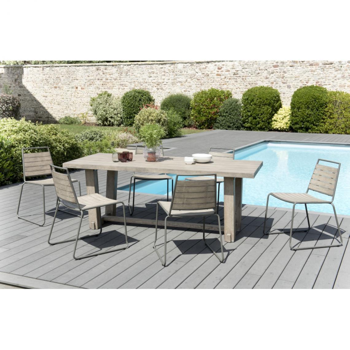 salon de jardin en bois teck grise 6 8 pers ensemble de jardin 1 table rectangulaire 200 90cm et 6 chaises empilables bois et metal