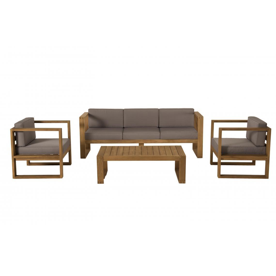 salon de jardin en bois teck 1 canape 3 places 2 fauteuils avec coussins waterproof et une table basse 110x60cm